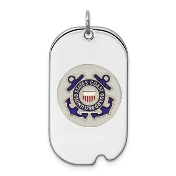 Sterling Silver Rhodium-plated US Coast Guard Dog Tag