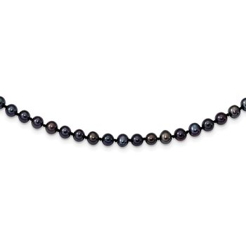 Sterling Silver Rhod-plated 4-5mm Black FWC Pearl Necklace