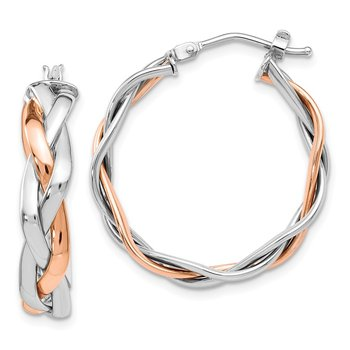 Leslie's 14K Two-tone Braided Hoop Earrings