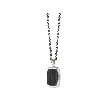 Black Large Cable Pendant Necklace on Black Chain with 18kt Yellow Gold