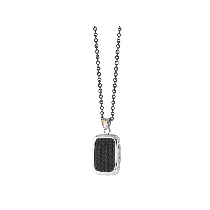 ALOR Black Large Cable Pendant Necklace on Black Chain with 18kt Yellow Gold
