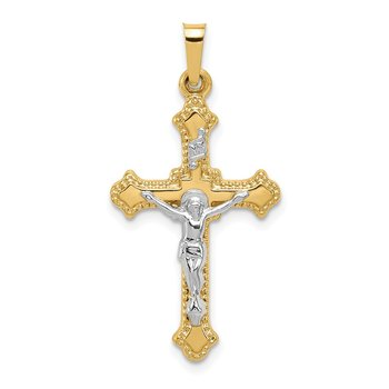 14k Two-tone Polished INRI Crucifix Pendant