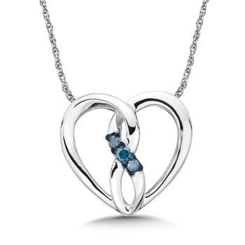 Blue Diamond 10k White Gold Infinity Heart Pendant (0.06ct. tw.)