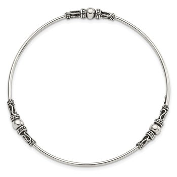 Sterling Silver Antiqued Beaded Slip On Bangle