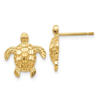 14K Gold Polished / Textured Sea Turtles Post Earrings