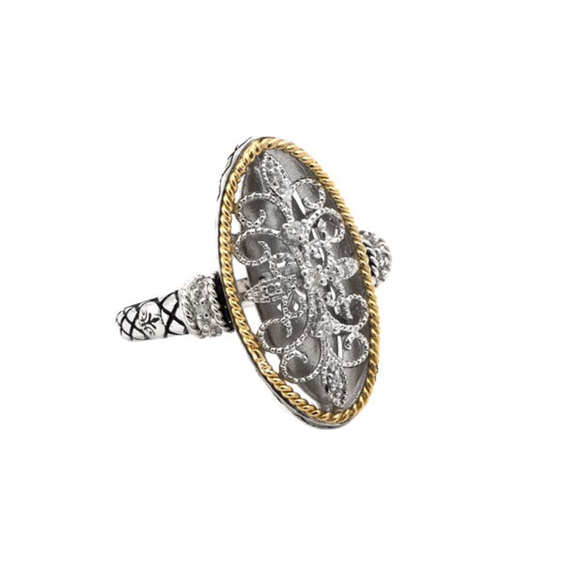 Andrea Candela 18kt and Sterling Silver Filigree Design Diamond Ring