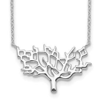 Sterling Silver Rhodium-plated Tree w/2in ext. Necklace