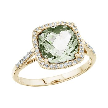 14K Yellow Gold 8 mm Cushion Green Amethyst and Diamond Ring