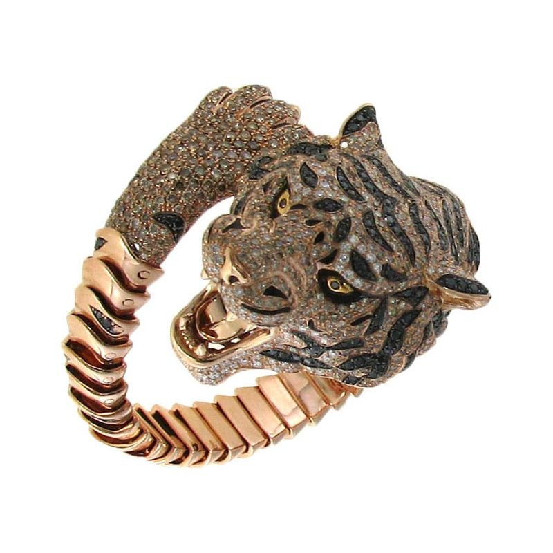 Roberto Coin 18Kt Rose Gold Diamond And Sapphire Tiger Bangle Limited Edition