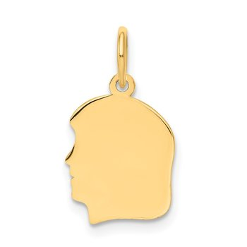 14k Plain Small .035 Gauge Facing Left Engravable Girl Head Charm