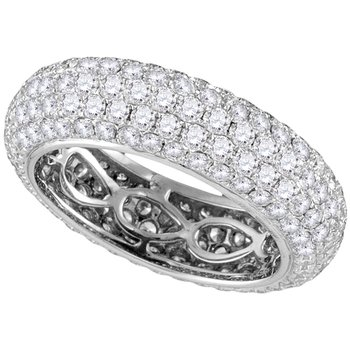 14kt White Gold Womens Round Pave-set Diamond Comfort Wedding Band Ring 3-1/3 Cttw