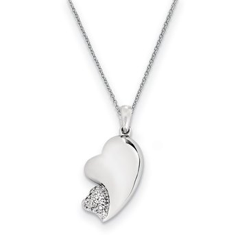 Sterling Silver CZ My Beloved Friend 18in Necklace