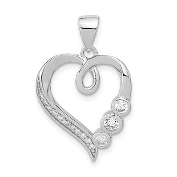 Sterling Silver Polished Heart with CZ Pendant