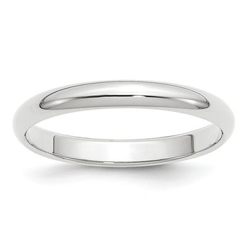 14k White Gold 3mm Half-Round Band
