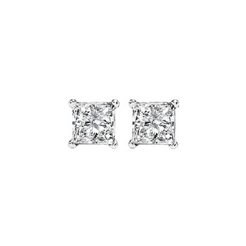 Princess Cut Diamond Studs in 14K White Gold (1/4 ct. tw.) I1/I2 - G/H