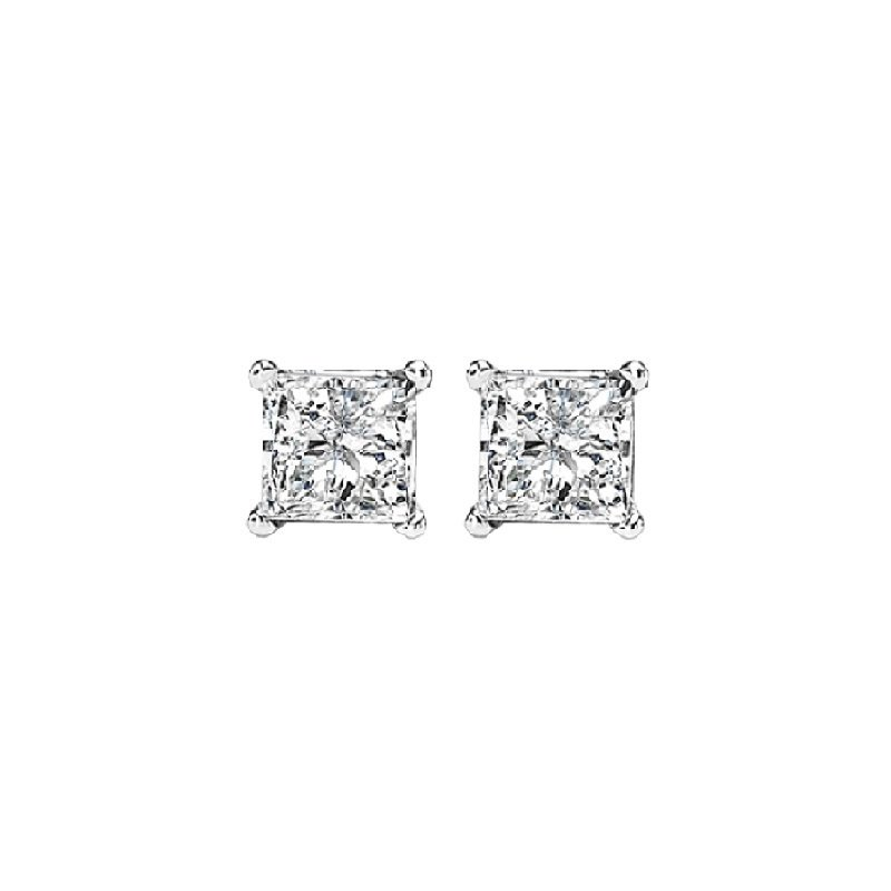 Gems One Princess Cut Diamond Studs in 14K White Gold (1/4 ct. tw.) I1/I2 - G/H