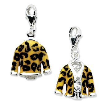 Sterling Silver Click-on CZ Enamel Leopard Jacket Charm