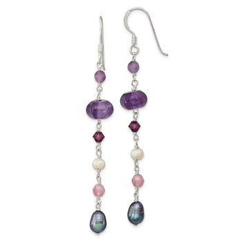 SS FWC Grey and White Pearl/Amythyst/Lavender Jade Dangle Earrings