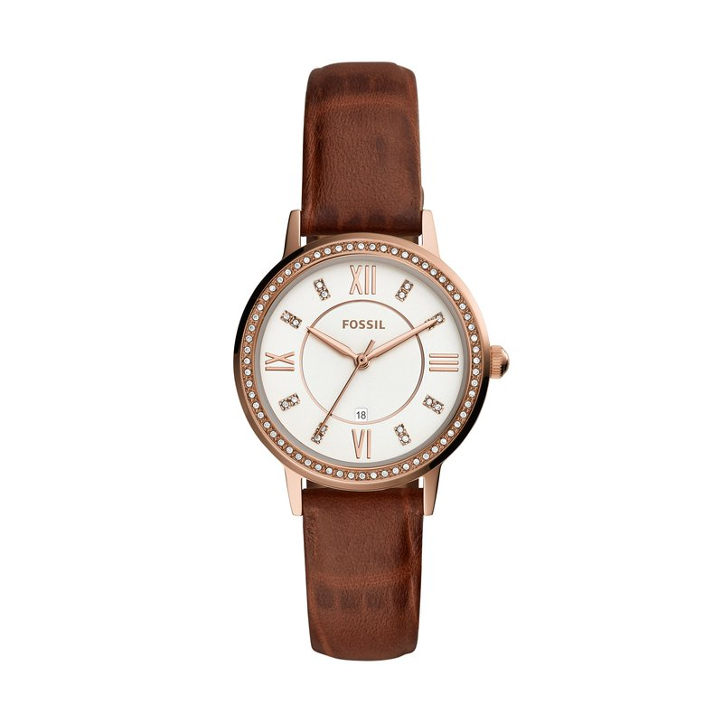 Fossil Gwen Three-Hand Date Brown Leather Watch