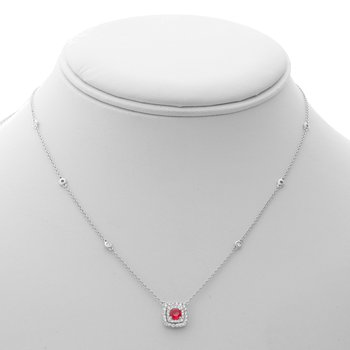 Double Halo Ruby & Diamond Necklace