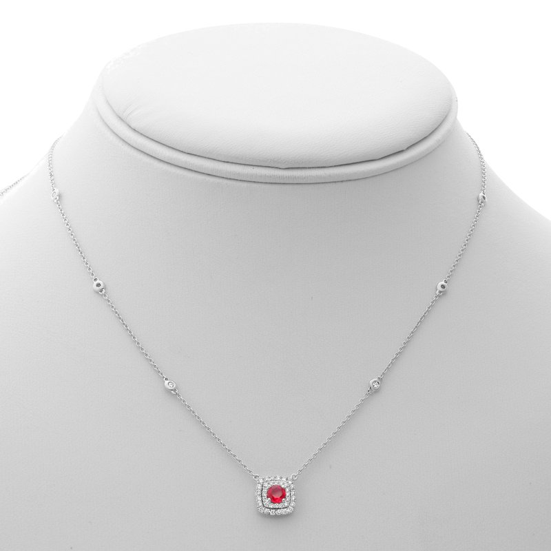 Roman & Jules Double Halo Ruby & Diamond Necklace