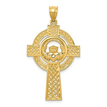 14k Celtic Claddagh Cross Pendant