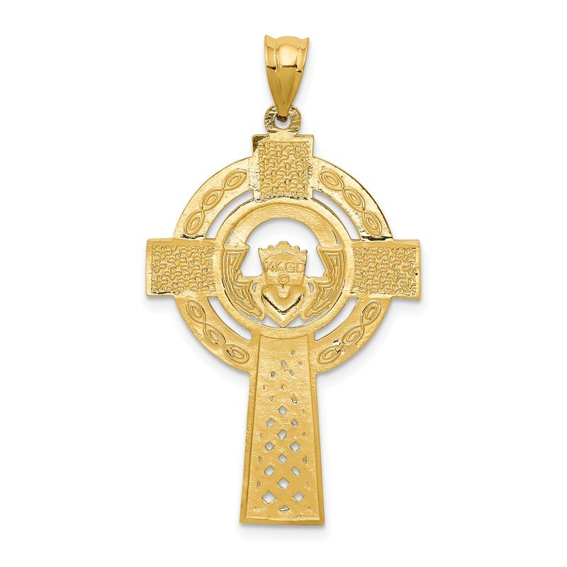 Quality Gold 14k Celtic Claddagh Cross Pendant