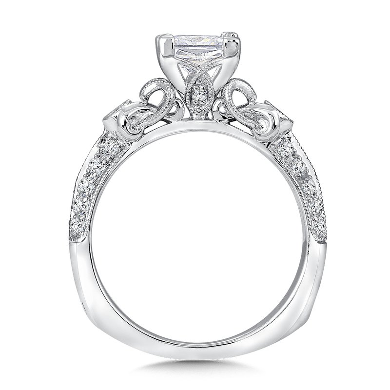 Valina Bridals Mounting with side stones .29 ct. tw., 1 ct. Princess cut center.