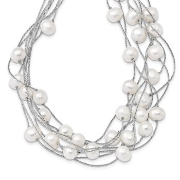 Sterling Silver RH 8-10mm White FWC Pearl Multi-strand Necklace