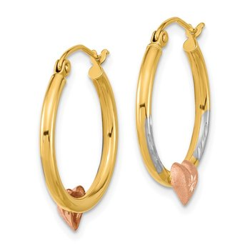 14k Two-tone with White Rhodium D/C Heart Hoop Earrings