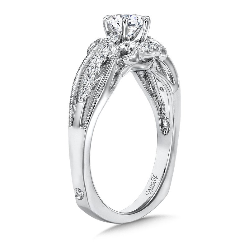 Caro74 Six-Prong Engagement Ring With Side Stones in 14K White Gold with Platinum Head (1/2ct. tw.)