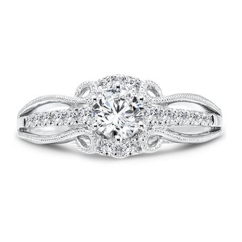 Six-Prong Engagement Ring With Side Stones in 14K White Gold with Platinum Head (1/2ct. tw.)