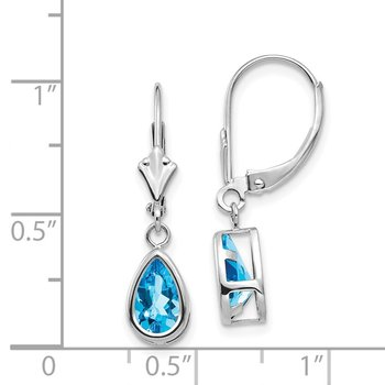 14k White Gold 8x5mm Pear Blue Topaz Leverback Earrings