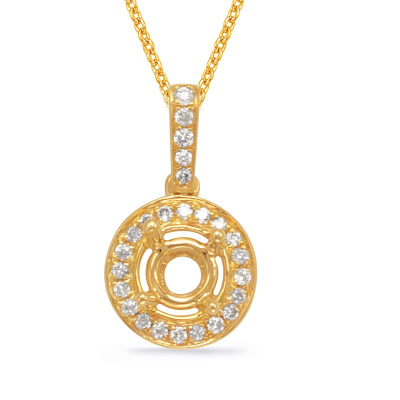 S. Kashi  & Sons Diamond Pendant For.33ct Round Stone