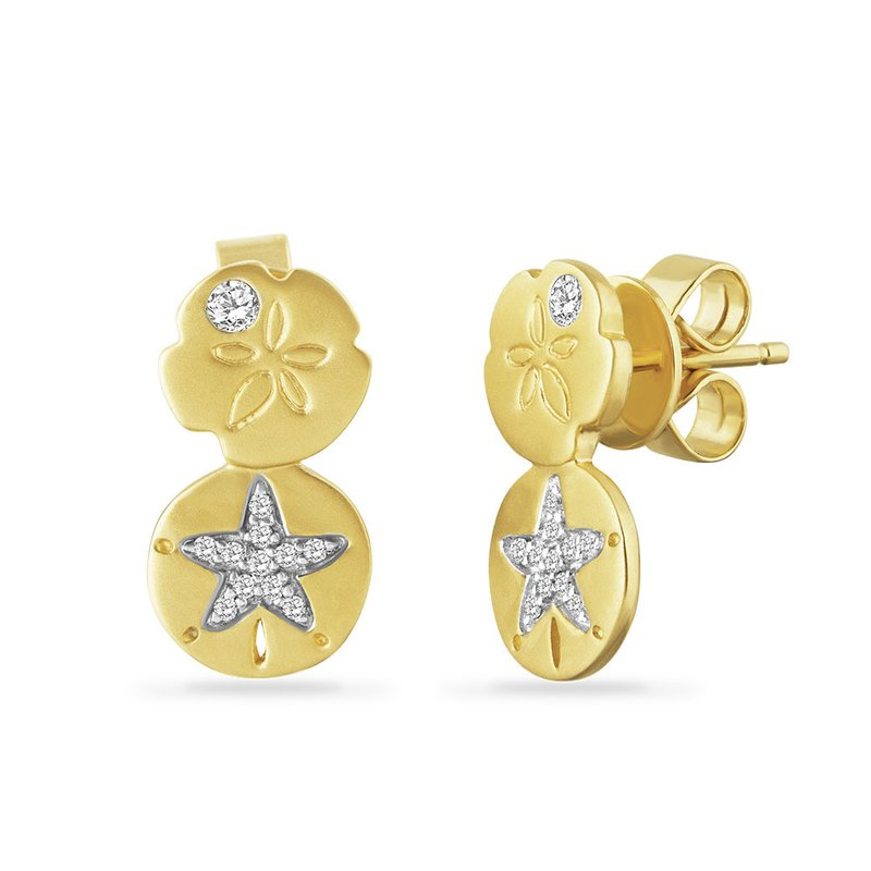 Shula NY 14K sand dollar earrings with 24 diamonds 0.11ct 8mm top shell X 7mm bottom shell
