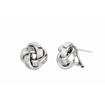 Silver Large Polished Love Knot Earring