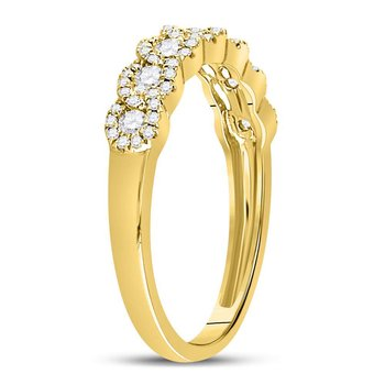 14kt Yellow Gold Womens Round Diamond Linked Circles Band Ring 1/2 Cttw
