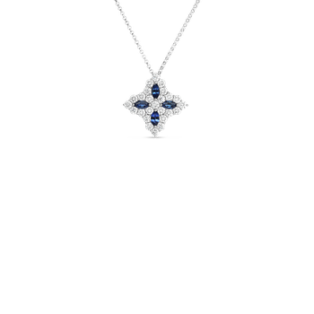 18K Diamond & Sapphire Lg Flower Pendant On Chain