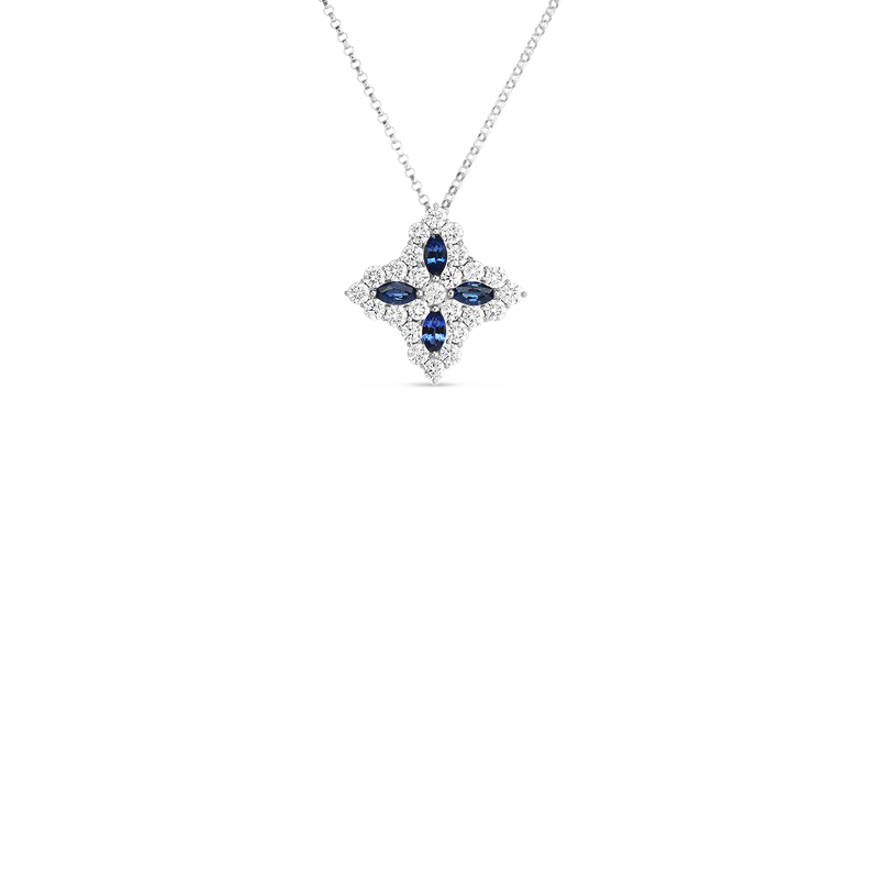 Roberto Coin 18K Diamond & Sapphire Lg Flower Pendant On Chain