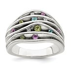 Quality Gold Sterling Silver Antiqued Blue Topaz/Peridot/Amethyst and CZ Ring