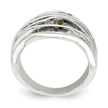 Sterling Silver Antiqued Blue Topaz/Peridot/Amethyst and CZ Ring
