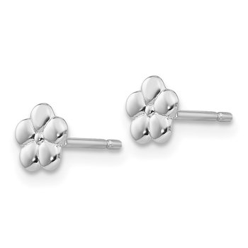 14k White Polished Flower Post Earrings