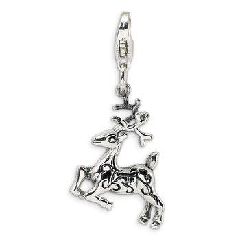 Sterling Silver 3-D Polished Reindeer w/Lobster Clasp Charm