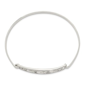 Sterling Silver Elephant Hinged Bangle