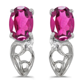 14k White Gold Oval Pink Topaz And Diamond Earrings