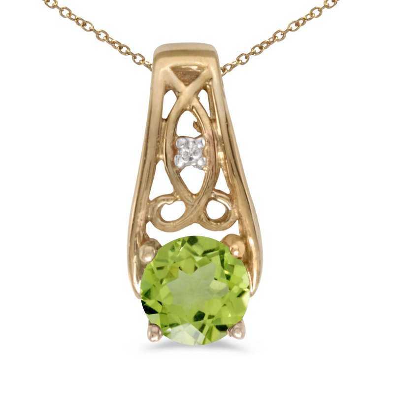 Color Merchants 14k Yellow Gold Round Peridot And Diamond Pendant