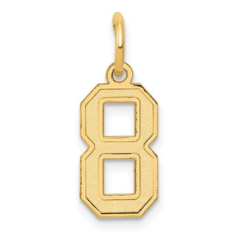 14k Small Satin Number 8 Charm