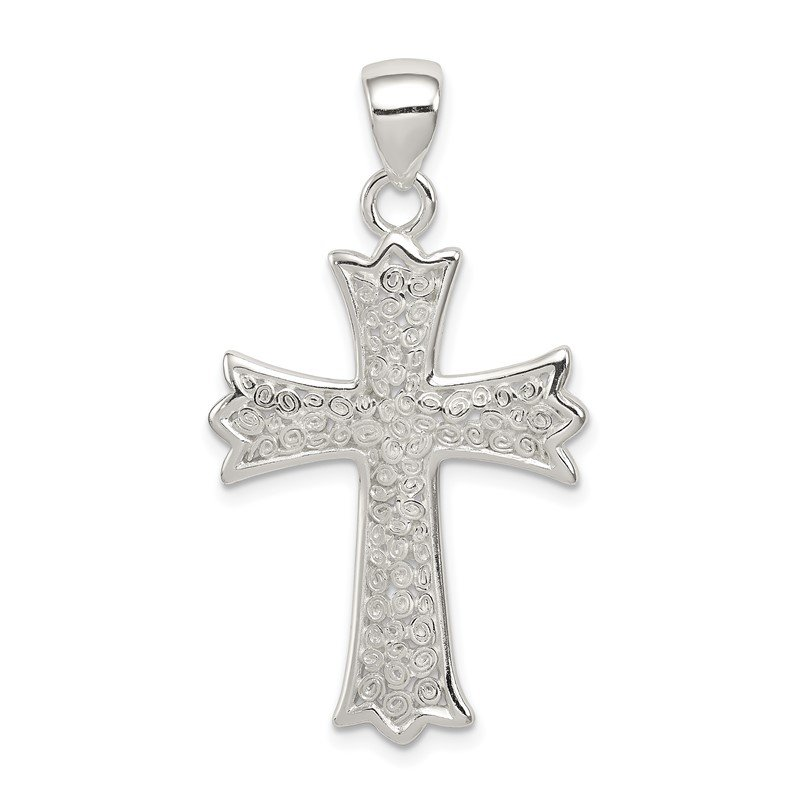 Quality Gold Sterling Silver Polished Filigree Cross Pendant