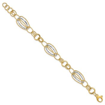 14k Two-tone Textured Hollow w/ext. Bracelet