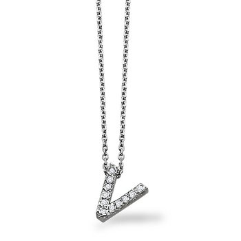 "Diamond Block Initial ""V"" Necklace in 14k White Gold with 11 Diamonds weighing .08ct tw."